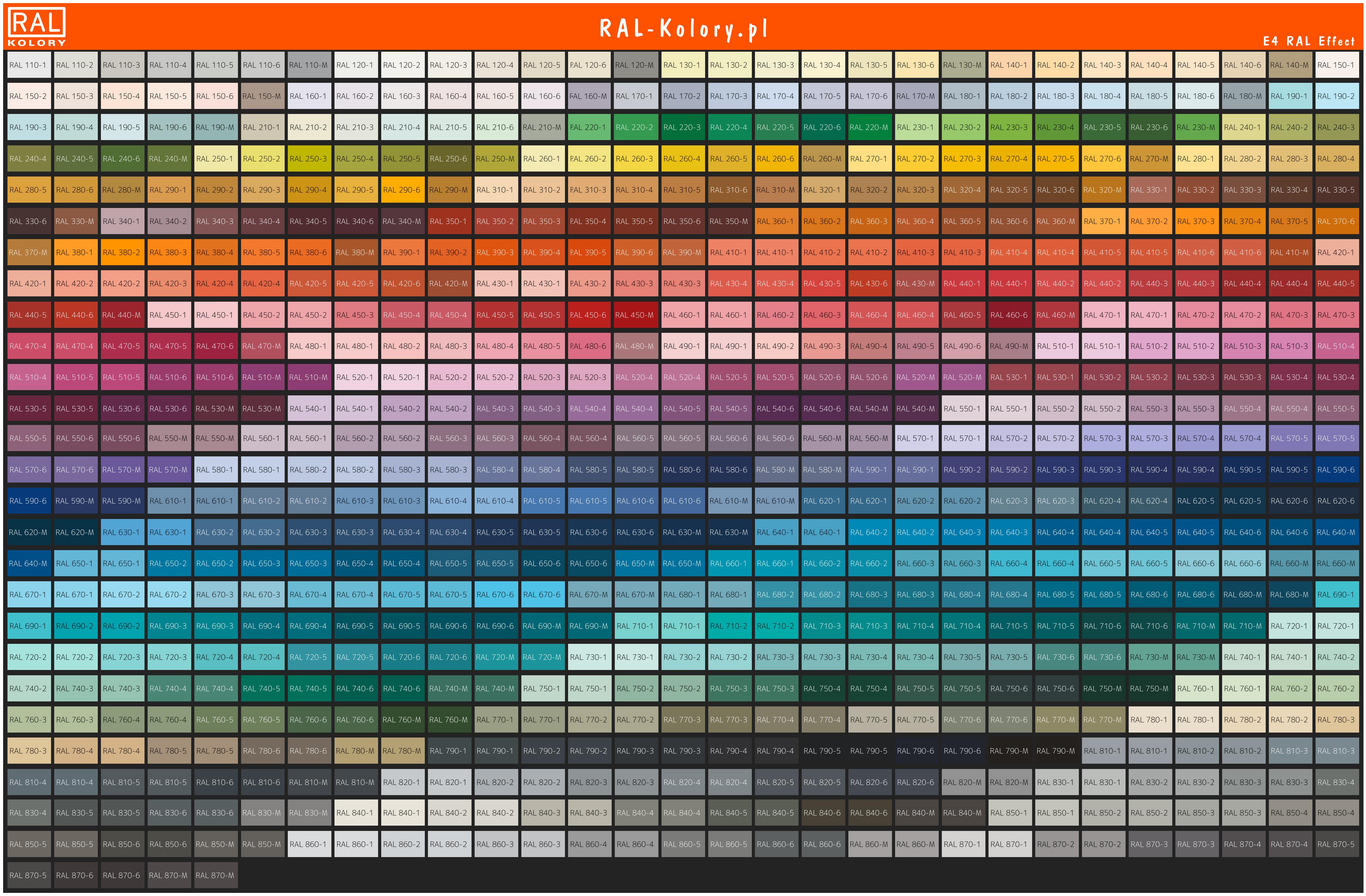 E4 RAL Effect Wzornik kolorów PL